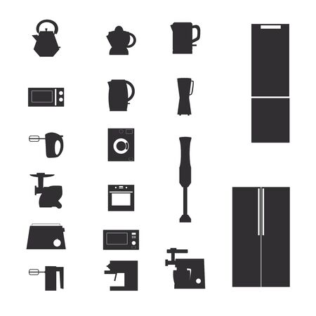 Appliances icons. Vector set of domestic electric machines 일러스트