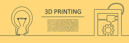 Prototype model of 3d printer. New 3d printing technology. Horizontal thin line style web banner.