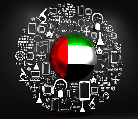 Innovation and technology concept. Template for presentation. Circle frame with thin line icons. Flag of the United Arab Emirates. 3D rendering. 版權商用圖片