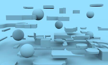 Design brochures background. 3D rendering. Levitation objects 写真素材