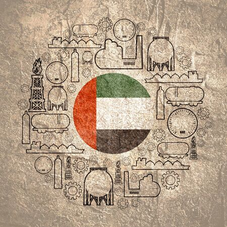 Energy and Power icons set. Design concept of natural gas industry. Circle with industrial line icons. Flag of the United Arab Emirates 版權商用圖片