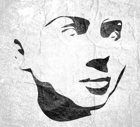 Face half turn view. Elegant silhouette of a female head. Portrait of a happy smiled woman 免版税图像