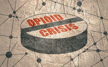 Opioidkrisentext auf Pille. Ungesunde Suchtmetapher. Molekül- und Kommunikationshintergrund. Verbundene Linien mit Punkten.