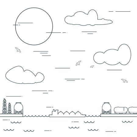 Design concept of natural gas industry. Sea port, marine cargo terminal, freight vessels or ships carrying fossil fuel with contour lines. Maritime transportation. Illustration in linear style.
