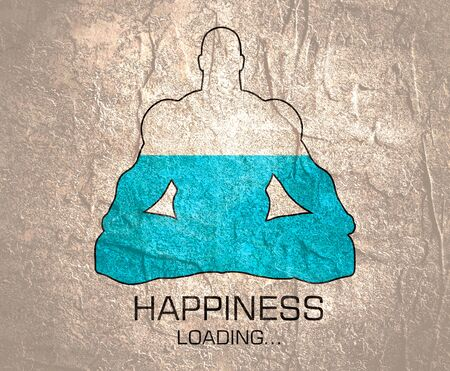 Happiness loading. Man sit in meditation pose. Healthy lifestyle illustration.
