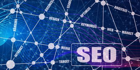 Search engine optimization word cloud business concept. SEO text. Molecule and communication background. Connected lines with dots.