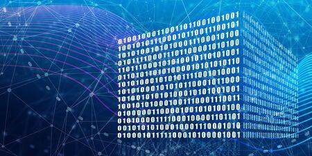 Binary code concept. Algorithm binary, data code, decryption and encoding, row matrix Banco de Imagens - 129655013