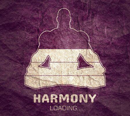 Harmony loading. Man sit in meditation pose. Healthy lifestyle illustration.