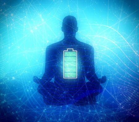 Businessman in with battery icon. Full battery concept. Business and life energy. High full level energy battery. Man sit in meditation pose. Stockfoto