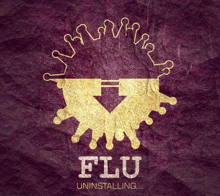 Abstract virus image. Therapy process. Flu uninstalling text. Фото со стока