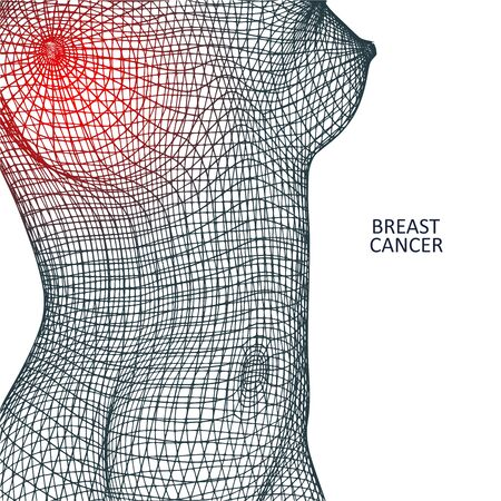 Polygonal female breast. Wire frame style. Breast cancer concept