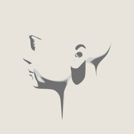 Face side view. Elegant silhouette of a female head. Portrait of a happy woman  イラスト・ベクター素材