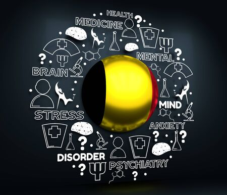 Mental health creative concept. Circle frame with medicine thin line icons and tags. Flag of the Belgium. 3D rendering.