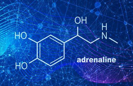 Chemical molecular formula hormone adrenaline. Infographics illustration.
