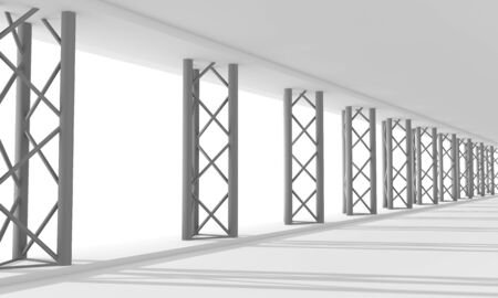 Modern urban architecture. Abstract background. Part of the building. 3D rendering