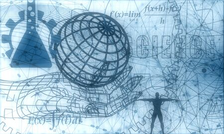 Abstract futuristic stripe line pattern with gear wheel and math fornula on blue color background. Human and earth globe model. Math science engineered drawn project plot concept