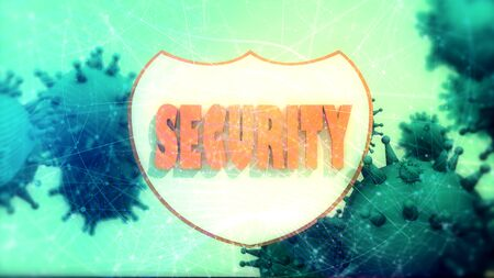 Shield with security text and viruse models. Antivirus programm relative image. Internet safery. 3D rendering Stock Photo