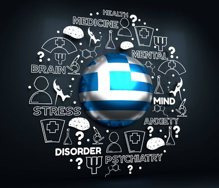 Mental health creative concept. Circle frame with medicine thin line icons and tags. Flag of the Greece. 3D rendering.