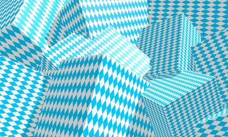 Chaotic geometry shapes textured by Octoberfest rhombus pattern. 3D rendering. Holidays concept Stock Photo