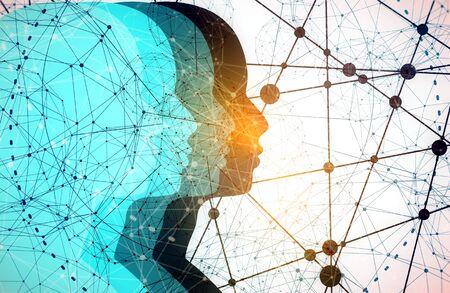 Silhouetten des Kopfes von Männern. Broschüre für psychische Gesundheit oder Berichtsdesignvorlage Wissenschaftliche medizinische Designs. Teamwork und Kommunikationskonzept. Verbundene Linien mit Punkten. Standard-Bild