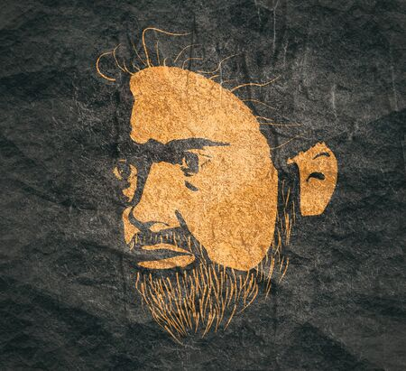 Half turn view of bearded man. Male face silhouette in contrast backlight