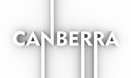 Image relative to Australia travel theme. Canberra city name in geometry style design. Creative vintage typography poster concept. 3D rendering.
