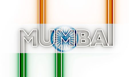 Image relative to India travel theme. Mumbai city name in geometry style design. Creative vintage typography poster concept. 3D rendering.