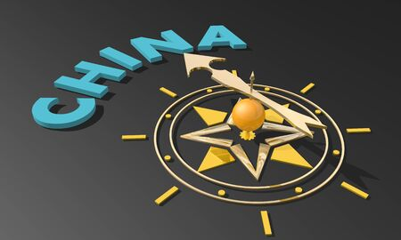 Golden arrow of a compass pointing to the China. 3D rendering. Business and travel concept