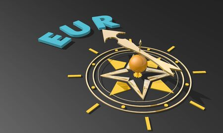 Golden arrow of a compass pointing to the EUR text. 3D rendering. Business concept