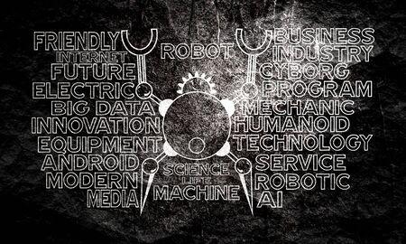 Cute vintage robot. Robotics industry relative words cloud. Cartoon person Banco de Imagens