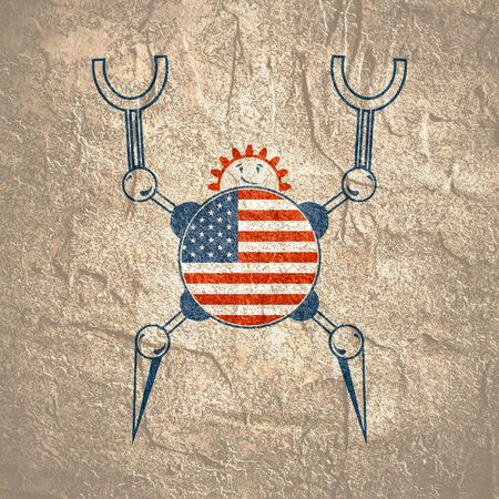 Cute vintage robot. Robotics industry relative image. Cartoon person. Flag of the USA
