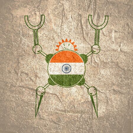 Cute vintage robot. Robotics industry relative image. Cartoon person. Flag of the India