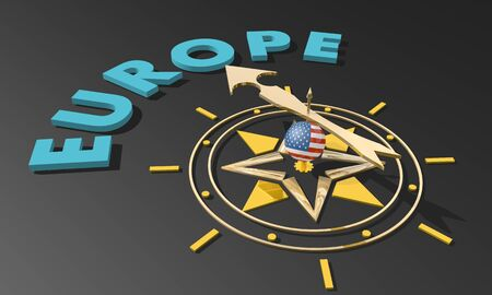 Politic and economic relationship between USA and European Union. Golden arrow of a compass pointing to the Europe. 3D rendering.