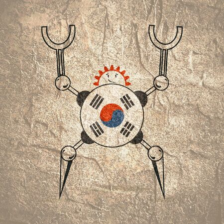 Cute vintage robot. Robotics industry relative image. Cartoon person. Flag of the South Korea