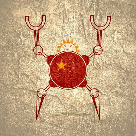 Cute vintage robot. Robotics industry relative image. Cartoon person. Flag of the China Imagens