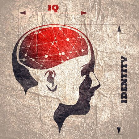Silhouette of a woman head. IQ and identity measuring. Scientific medical designs. Connected lines with dots as symbol of brains. Imagens