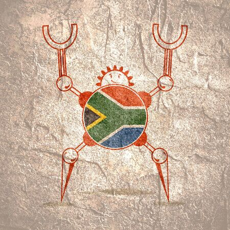 Cute vintage robot. Robotics industry relative image. Cartoon person. Flag of the South Africa