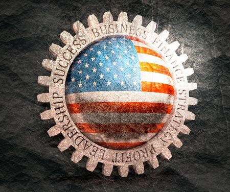 Cog wheel with USA flag. Precision machinery relative backdrop.