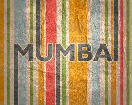 Image relative to India travel theme. Mumbai city name in geometry style design. Creative vintage typography poster concept.
