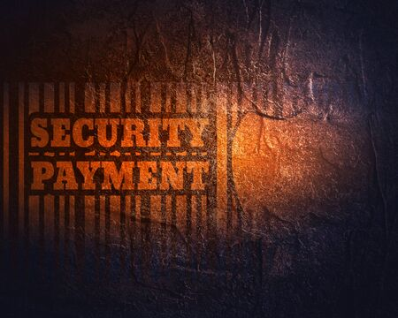 Buyer protection. Internet payments security. Bar code and shield with security payment text