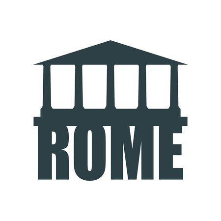 Travel template. Rome city name text with ancient temple silhouette