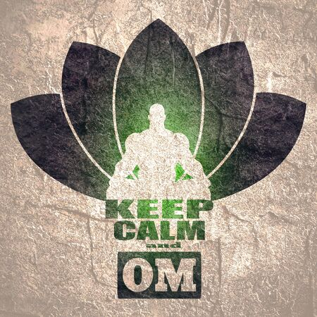 Muscular man sit in meditation pose. Bodybuilder relaxing. Cutout silhouette. Lotus flower yoga center emblem. Keep calm and om text