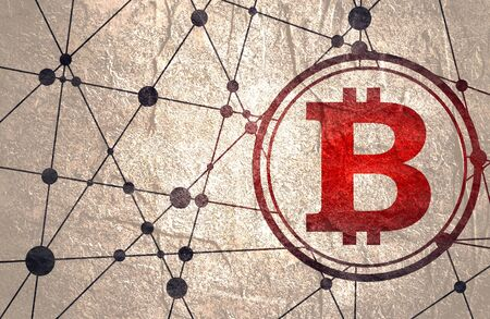 Bitcoin crypto currency sign icon for internet money. Blockchain based secure cryptocurrency. Molecule And Communication Background. Brochure or report design template. Connected lines with dots.