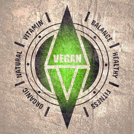 Vegan emblem concept. Fresh healthy organic vegan food illustration. Vegetarian eco green concept. Words cloud. Abstract compass