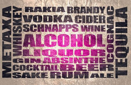 Different drinks list. Drink alcohol beverage. Relative words cloud