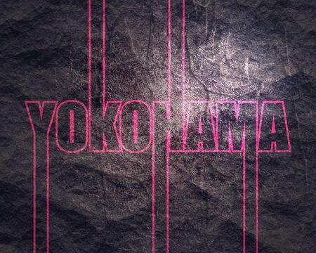 Image relative to Japan travel theme. Yokohama city name in geometry style design. Creative vintage typography poster concept.