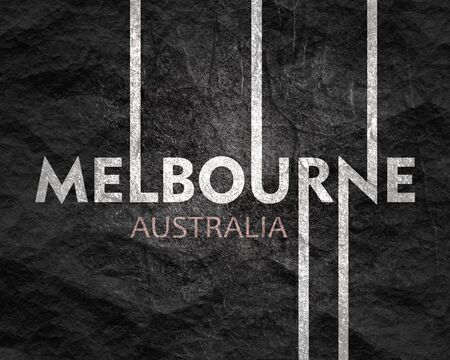 Image relative to Australia travel theme. Melbourne city name in geometry style design. Creative vintage typography poster concept.