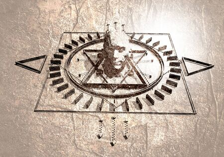 Animated mystery, witchcraft, occult and alchemy sign. Mystical vintage gothic geometry thin lines symbol around the human head.