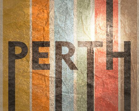 Image relative to Australia travel theme. Perth city name in geometry style design. Creative vintage typography poster concept.