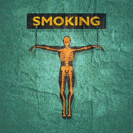 Man chained to smoking word. Unhealth addiction metaphor. Imagens